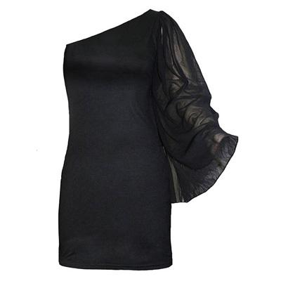 Shoulder Batwing dress black - Spiral