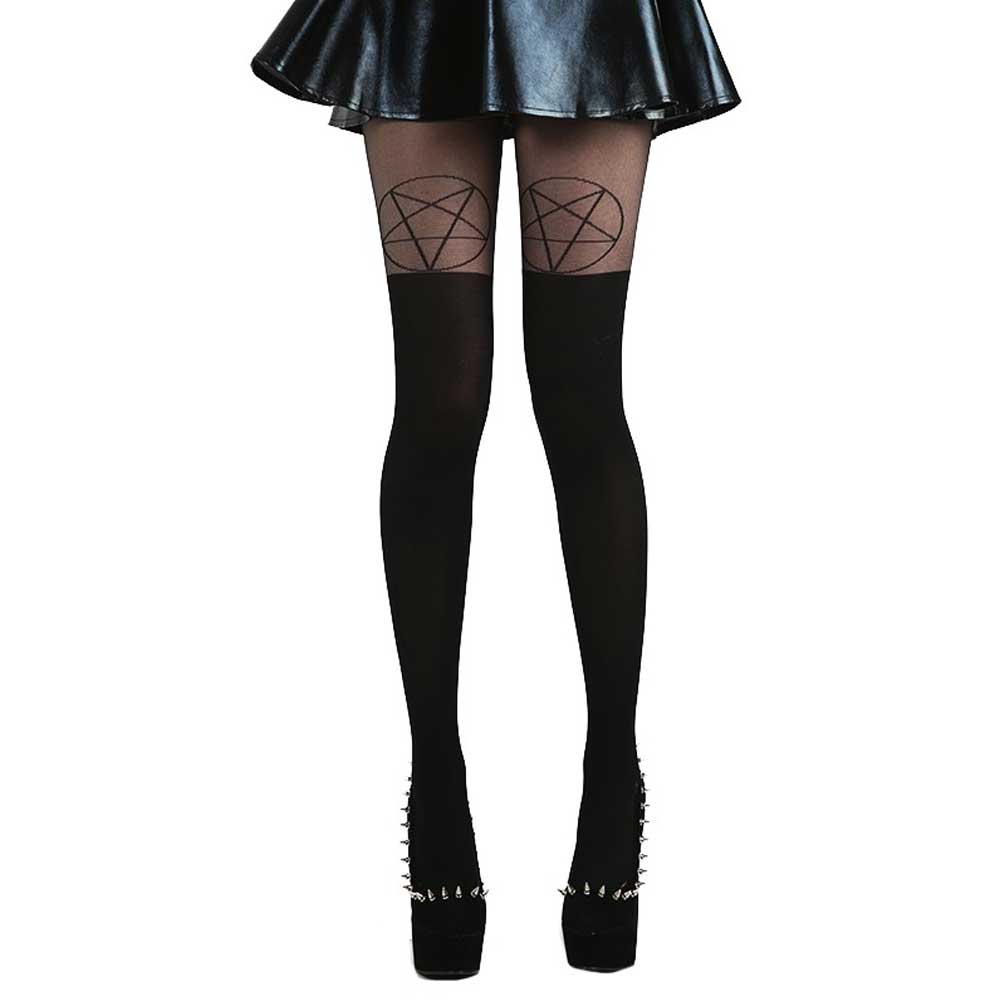 Pentagram suspender tights black - One s