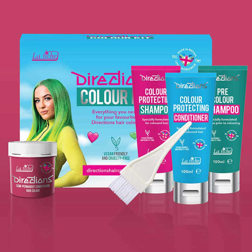 Flamingo pink hairdye colour kit - Direc