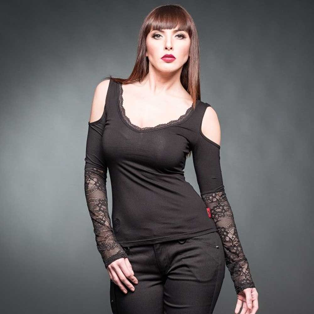 Shirt with long lace sleeves and open sh
