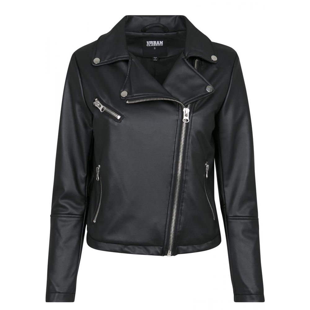 Urban Classics Ladies Faux Leather Biker Jacket black  e04975a35a