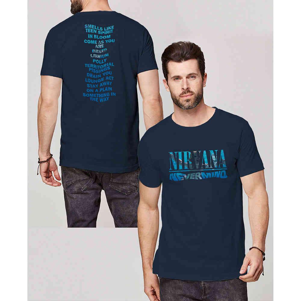 Nirvana T Shirt Nevermind Band Logo Nue offiziell Herren Navy Blau